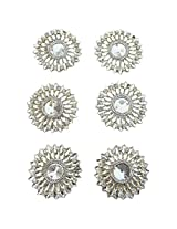 Foppish Mart Medium Silver Circular Stone Buti / Motifs