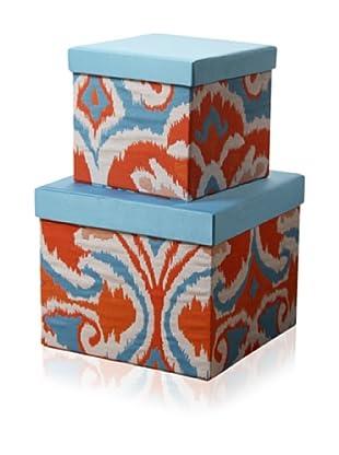 Sandy Wilson Ikat 2-Piece Set Square Appliqué Box, Blue