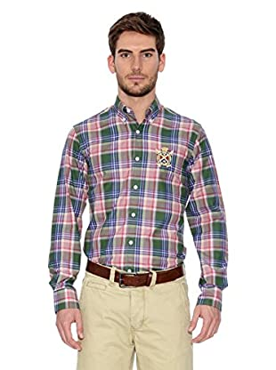 Polo Club Camisa Hombre Checks (Verde / Rosa)