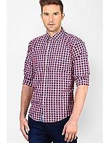 Checks Red Slim Fit Casual Shirt Basics