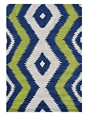 The Rug Market Ziggy Rug (Navy/Green/White)