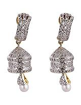 Agarwal Bentex Gold Plated American Diamond Meena Jhumki For Women