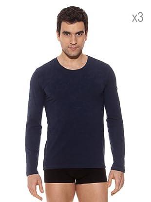 Pierre Cardin Pack x 3 Camisetas M / Larga (Marino)