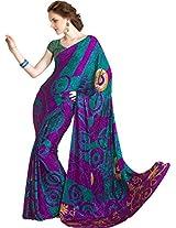 Pagli Magenta With Rama Green Jakard Crepe Printed Saree