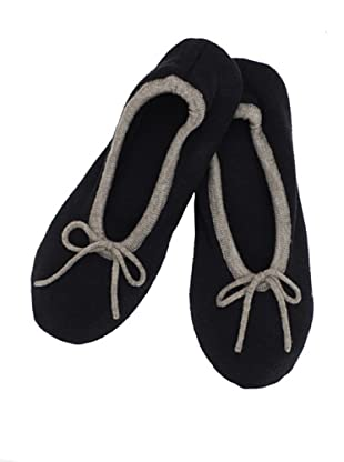 a&R Cashmere Slippers with 2 Tone Trim (Black)