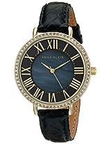 Anne Klein Womens AK/1824BMBK Swarovski Crystal-Accented Gold-Tone Watch with Black Leather Strap