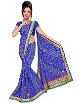 Kala Sanskruti Chiffon And Art Silk Bandhej Design Saree With Work [KSA3XI-34_Violet]