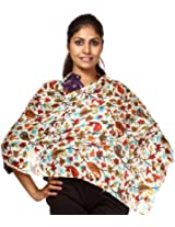 Exotic India Ivory Stole with Kani Print in Multi-Color - Ivory