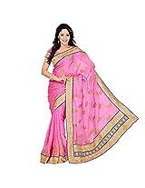 Chandra Silk Mills Pink Embroidered Satin Matty Border Wedding Saree