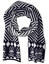 Psycho Bunny Men's Gibson Aztec Knitted Scarf, Navy/Ecru, One Size