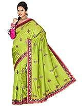 Utsav Fashion Women's Neon Green Art Silk Saree with Blouse