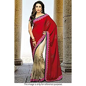 Bollywood Replica Karisma Kapoor Georgette and Net Saree In Cream and Red Colour NC534