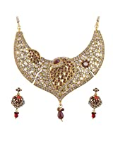Ganapathy Gems Gold Plated Necklace Set With Kundan And Purple Stones (7363)