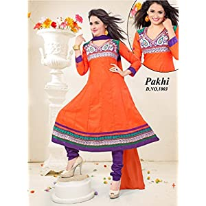 Orange and Violet Anarkali Unstitched Suit