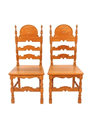 Pair of Country French Side Chairs, Tan