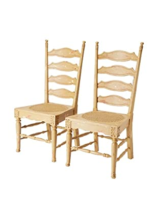 GuildMaster Set of 2 Livorno Ladder-Back Chairs, Acorn/Red