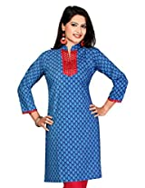 Printed Pattern Work Kurtis(Size : X-Large)
