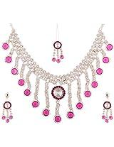 Lucky Jewellery Rose Rain Alloy Chain Patwa Set for Women (660-ISP-415-R)