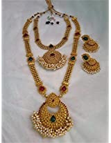Traditional temple gold plated necklace and haram with jhumka earring