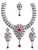 DollsofIndia Kundan Necklace Set with Mang Tika - Stone And Metal - White, Red