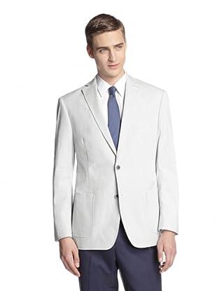 Calvin Klein Men's Milos Two Button Striped Sportcoat (White)