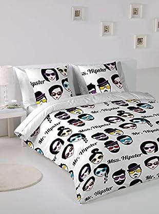Hipster Bettdecke und Kissenbezug Face