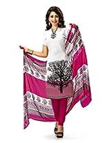 Jevi Prints White & Pink Art Crepe Dress Material with Dupatta