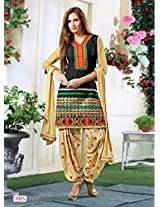 Fabboom New Black And Cream Colour Designer Cambric Cotton Patiyala Suit