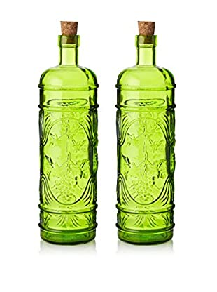 French Home Set of 2 Round 34-Oz. Bottles with Corks, Willow Green