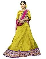 Melluha Yellow Net Embroidered Booti and Border work Lehenga with Chiffon Dupatta