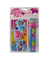 My Little Pony 4 Piece Stationery Set - 1 Pencil Pouch 1 six inch ruler 1 Pencil Sharpener 1 Eraser