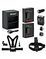 Smatree Battery Charger Kits Head Strap Mount Chest Belt Strap For Gopro Hd Hero3