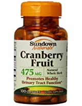 Sundown Naturals Cranberry Fruit Capsules, 475mg, 100-Count Bottle