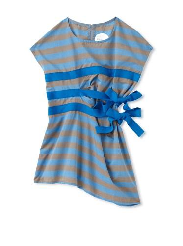 kicokids Girl's Horizontal Tuck Pleat Dress (Surf)