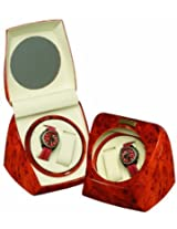Burl Wood Finish 2 Watch Winder One Turntable With 4 Program Settings.