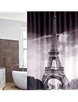 180x180cm Waterproof Fabric Shower Eiffel Tower Curtain Bath Curtain With 12 Hooks