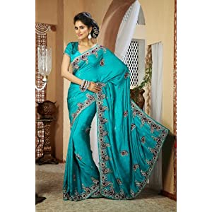 Designer Alluring Geenish Blue Embroidered Satin Silk Saree 22141