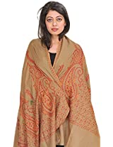 Exotic India Tusha Shawl from Kashmir with Sozni Hand-Embroidered Paisleys - Color Covert GreenColor Free Size
