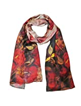 Wrapables Luxurious 100% Charmeuse Silk Floral Painting Long Scarf with Hand Rolled Edges, Red Roses
