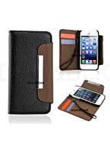 Gioiabazar Apple iPhone 5C Leather Flip Wallet Case Cover Pouch Table Talk New Black