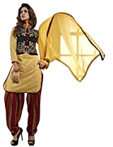 Vibes Women Cotton Salwar Suit Dress Material (V191-8014 _Yellow _Free Size)