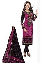 Salwar Studio Pink & Black Cotton Dress Material With Dupatta Priyanshi-5112