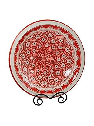 Le Souk Ceramique Nejma Large Serving Bowl, Red/White