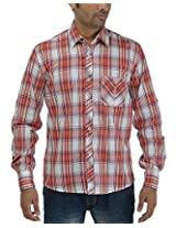 Maxx Shirts Men's Slim Fit Shirt (MX018, White and Red, 42)