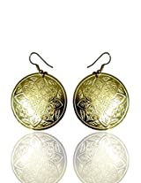 Optionsz Golden Era Royal Touch Leaves Embossed Round Shape Hanging Dangle Earring , OPTERJPAZ245