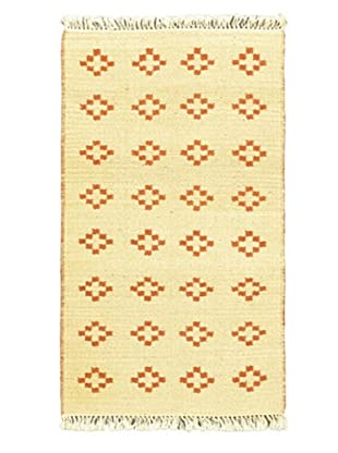 Hand Woven Natural Plush Kilim, Cream, 2' x 3' 7