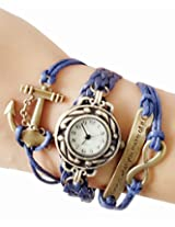 Blue Vintage Time is What You Make of It Inspirational Bracelet Watch