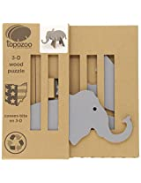 Topozoo Elephant 3-D Wood Puzzle, Grey