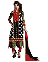 Vibes Women Georgette Salwar Suit Dress Material (V173-03 _Black _Free Size)