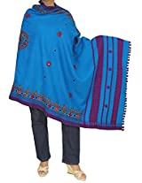 Handmade Shawl For Women - Woolen Embroidered Wrap from India 84x36 Inches